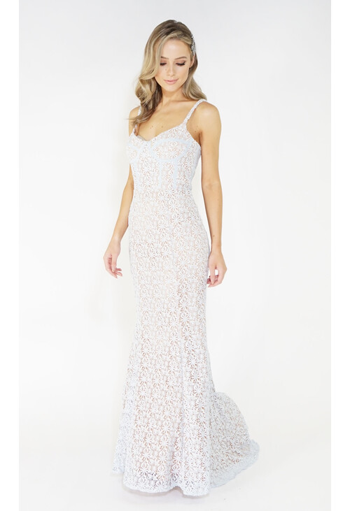 Jarlo Blue & Nude Lace Long Dress