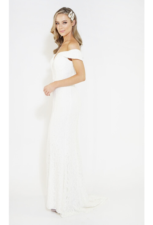 Jarlo Ivory Full Lace Long Dress