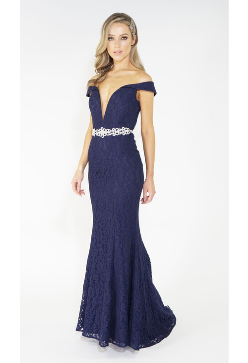 Navy Full Lace Long Dress