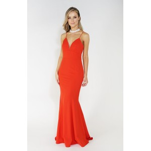 Jarlo Red Slide Split Long Dress