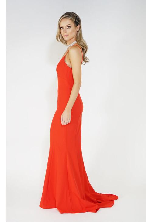 Jarlo Red Slide Split Long Dress
