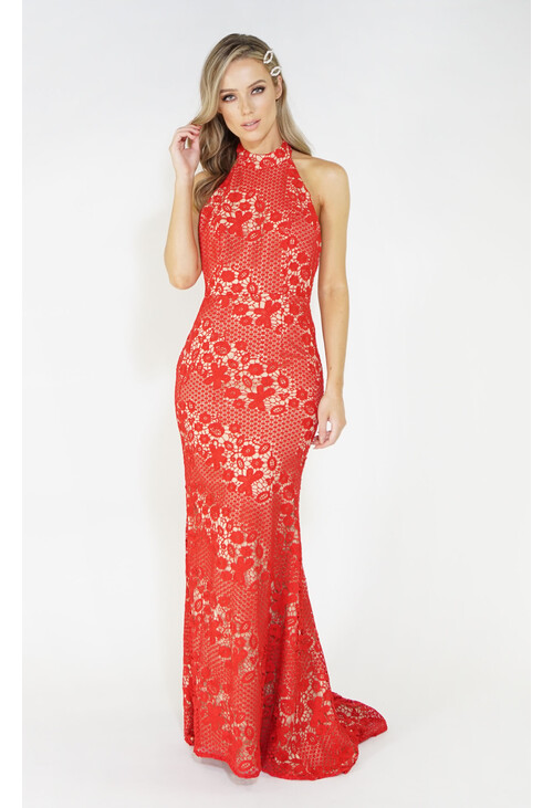 Jarlo Red & Nude Halter Neck Lace Long Dress