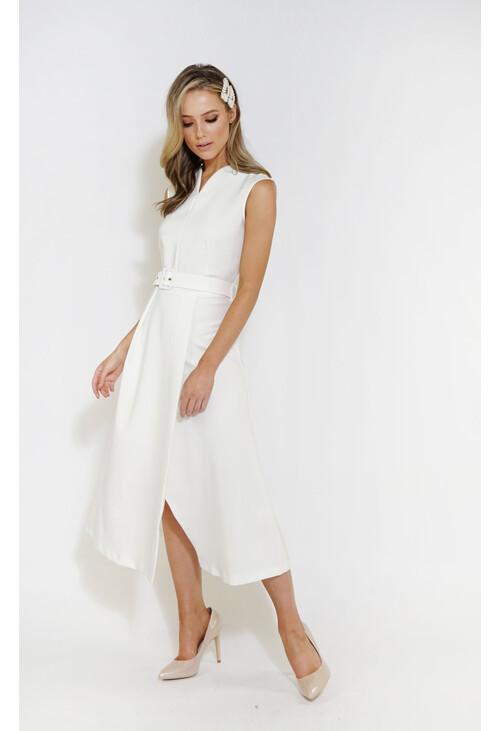 Closet Ivory V-Neck Wrap Skirt Midi Dress