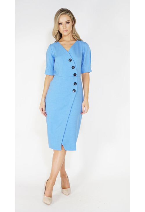 Closet Blue Puff Sleeve Wrap Dress With Buttons
