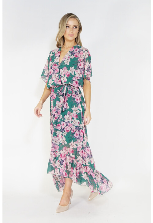 Kilky Paris Floral high and low chiffon dress