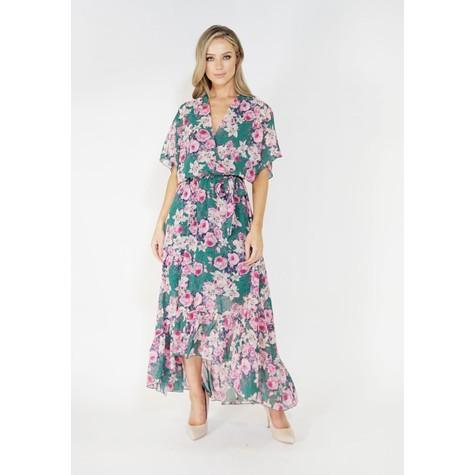 Kilky Paris Floral high and low chiffon dress