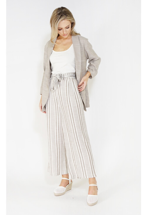 Sophie B culotte linen look trousers with tie belt