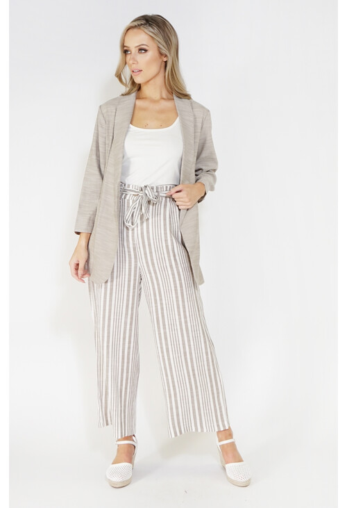 Sophie B culotte linen look trousers with tie belt