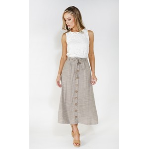 SophieB Sophie B linen look button through skirt
