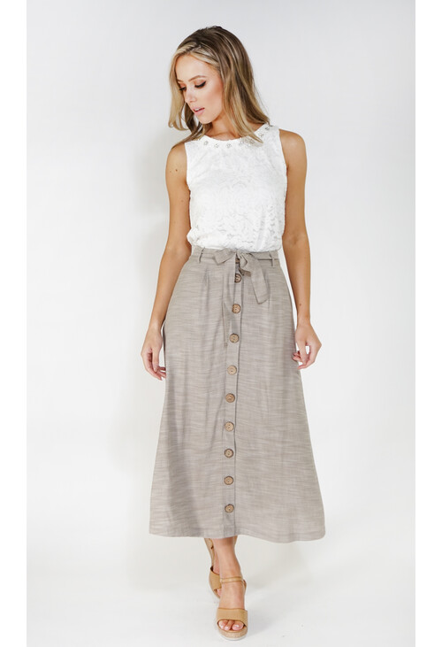 Sophie B linen look button through skirt