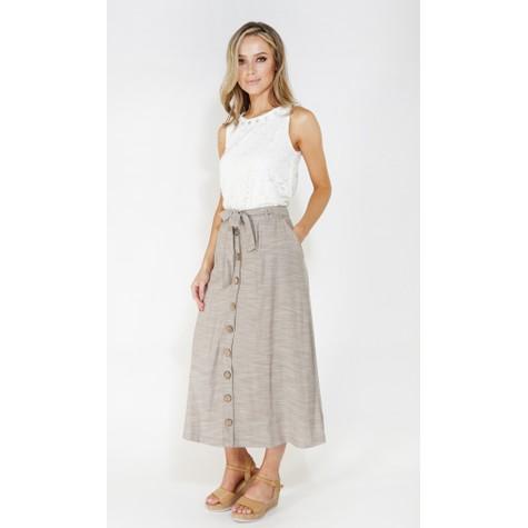 SophieB Sophie B linen look button through skirt