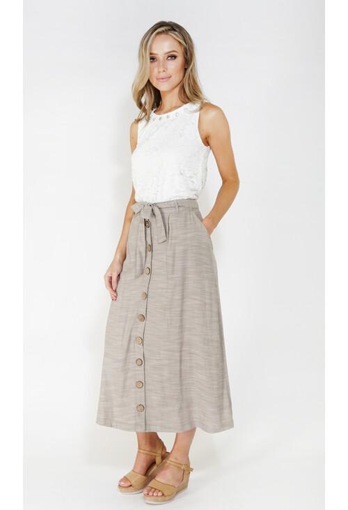 Sophie B linen look button through skirt