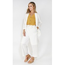 SophieB linen look culottes with tie belt