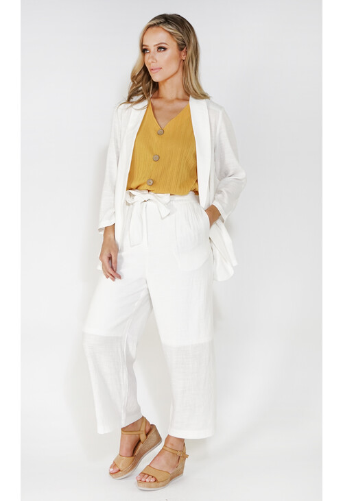 Sophie B linen look culottes with tie belt