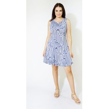 Zapara Navy & Blue Abstract Pattern Dress