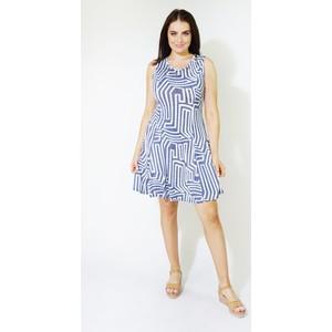Zapara Navy & Blue Abstract Pattern Dress