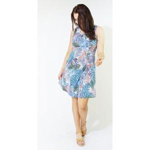 Zapara Aqua Abstract Pattern Print Dress