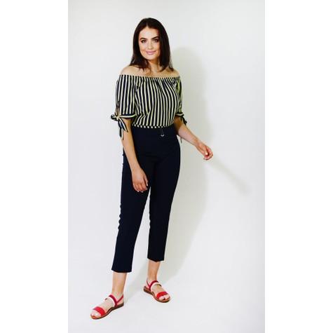 Zapara Yellow & Blue Stripe Bardot Style Top