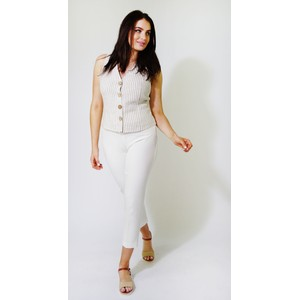 SophieB Off White & Natural Strip Gilet Top