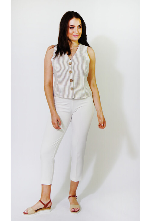 Sophie B Off White & Natural Striped Gilet Top