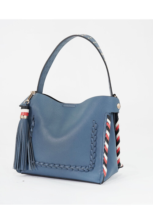 Bestini Blue Gold Studded Detail Handbag