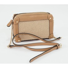 Bestini Beige Wicker Gold Studded Detail Handbag