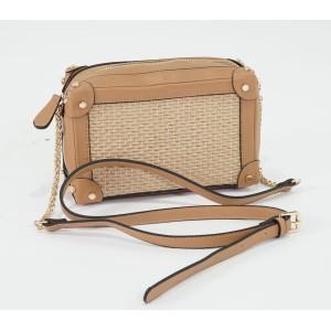 Bestini Beige Wicker Gold Studded Detail Handbag