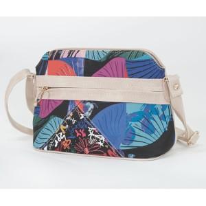 Pamela Scott Beige & Abstract Print Cross Body Handbag