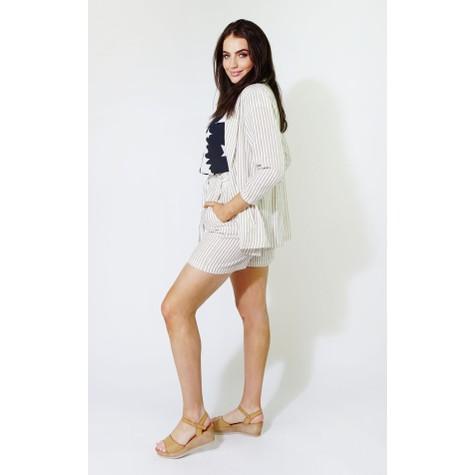 SophieB Natural & Beige Strip Linen Feel Blazer