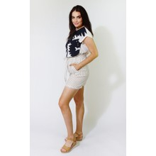 SophieB Beige & White Stripe Linen Feel Shorts