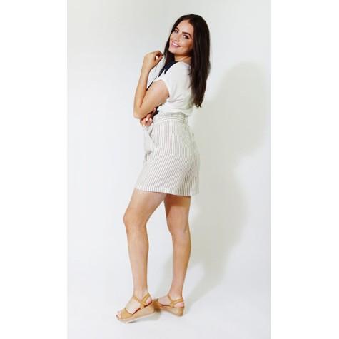 SophieB Beige & White Stripe Linen Feel Shorts