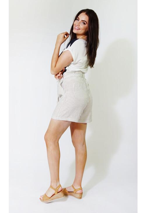 Sophie B Beige & White Stripe Linen Feel Shorts