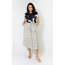 SophieB Beige & White Stripe Line Feel Long Skirt