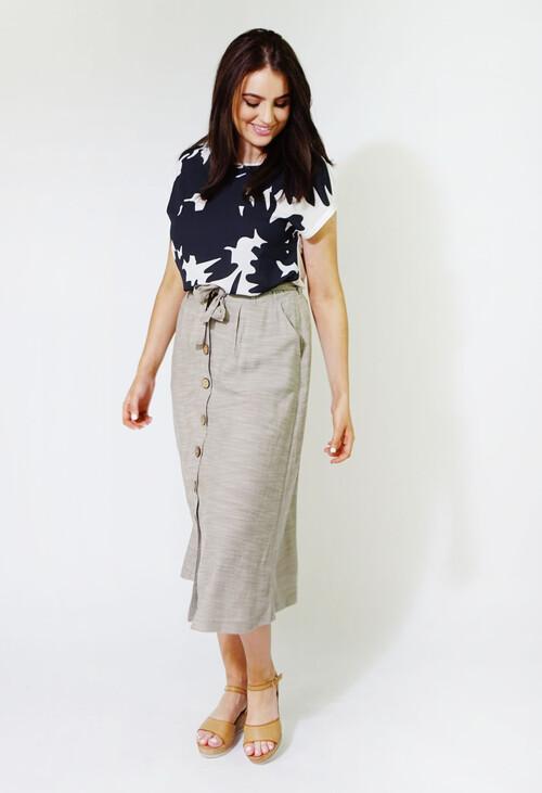 Sophie B Beige & White Stripe Line Feel Long Skirt