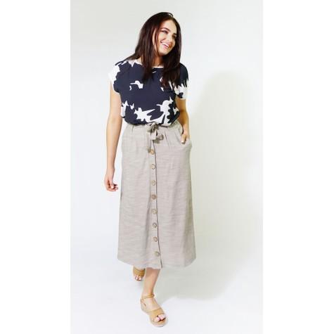SophieB Beige & White Stripe Line Feel Long Skirt