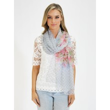 Pamela Scott Grey & Pink Floral Print Scarf