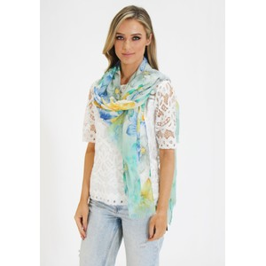 Pamela Scott Green, Yellow & Blue floral Print Scarf