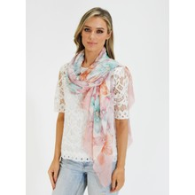 Pamela Scott Rose & Off White Floral Print Scarf