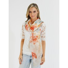 Pamela Scott Taupe & Orange Floral Print Scarf
