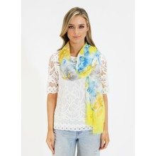 Pamela Scott Yellow & Blue Floral Print Scarf