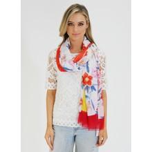 Pamela Scott Red & Marine Floral Print Scarf