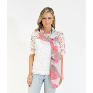 Pamela Scott Coral Feather Pattern Print Scarf