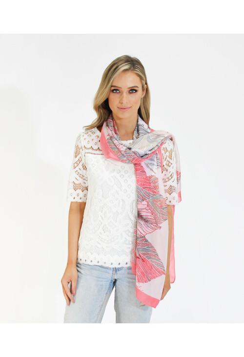 Pamela Scott Coral Feather Pattern Print Scarf