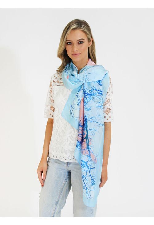 Pamela Scott Royal Blue & Pale Pink Pattern Scarf