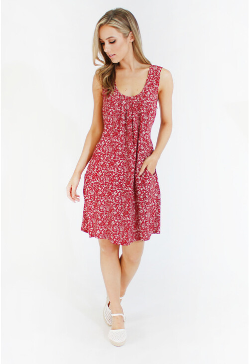 Pamela Scott Red Fine Floral Print Pattern Dress