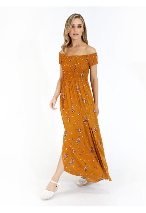 Pamela Scott Mustard Floral Long Maxi Dress