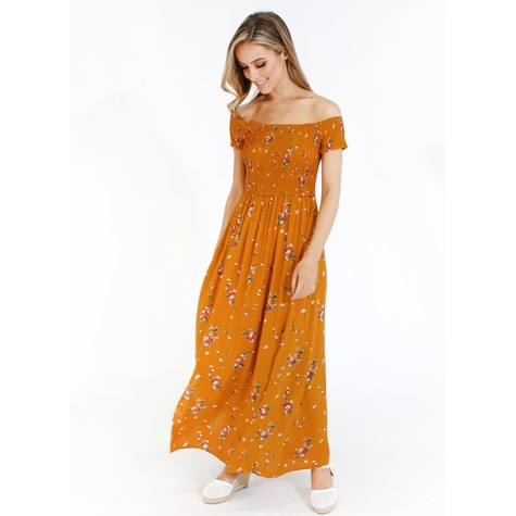 Pamela Scott Mustard Floral Long Maxi Dress