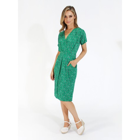 Zapara Green geometric print v neck dress