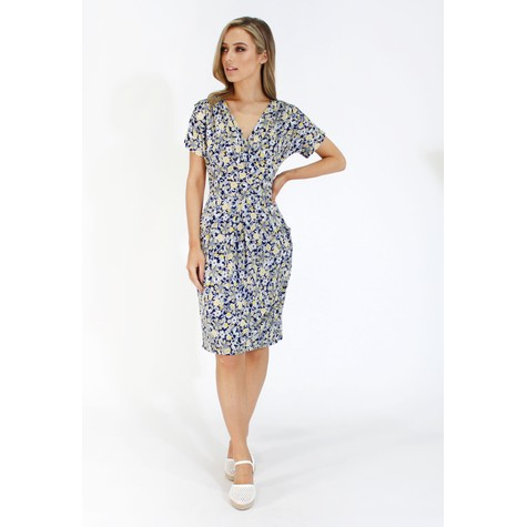 756a3874199 Zapara Navy and lemon ditsy floral v neck dress | Pamela Scott