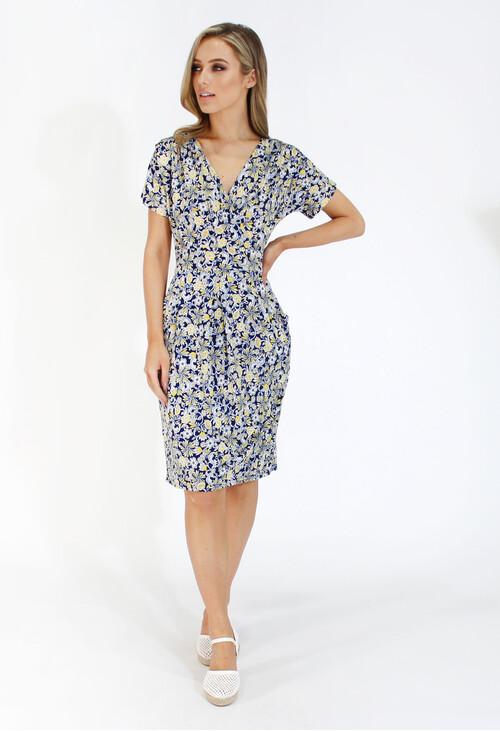 Zapara Navy and lemon ditsy floral v neck dress